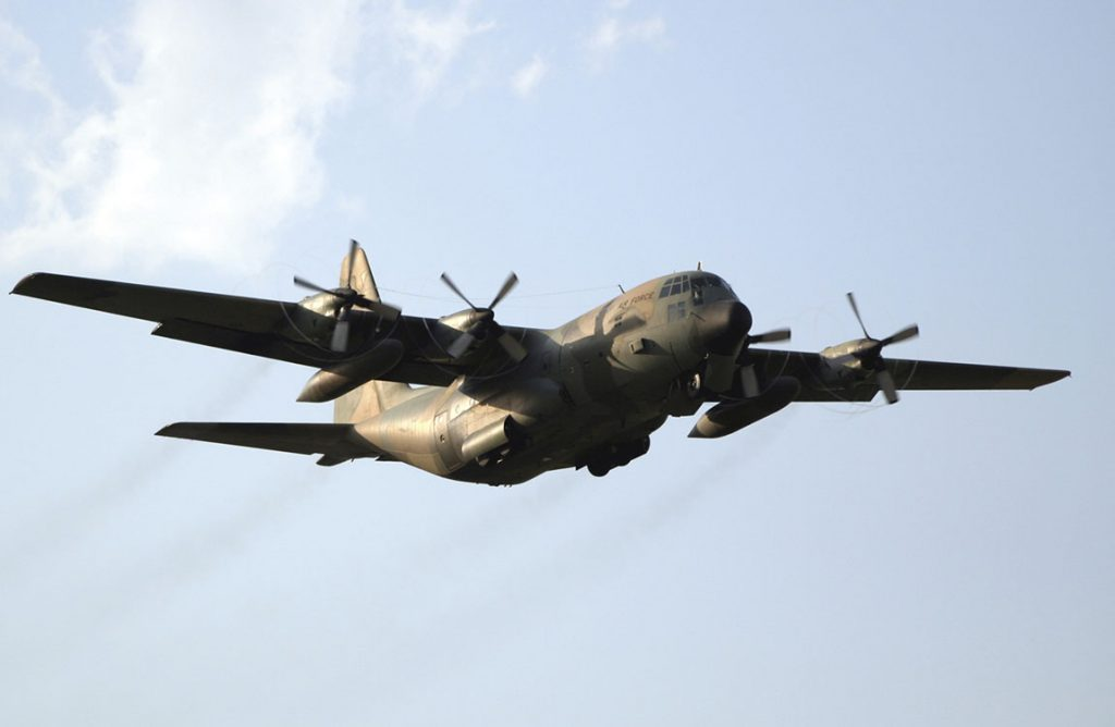 C-130 Hercules cargo airplane in flight