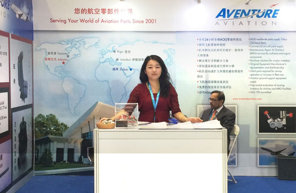 Wei Sun, Aventure Aviation Account Executive for the China Region, at Aventure's booth at the 2017 Aviation Expo China in Beijing