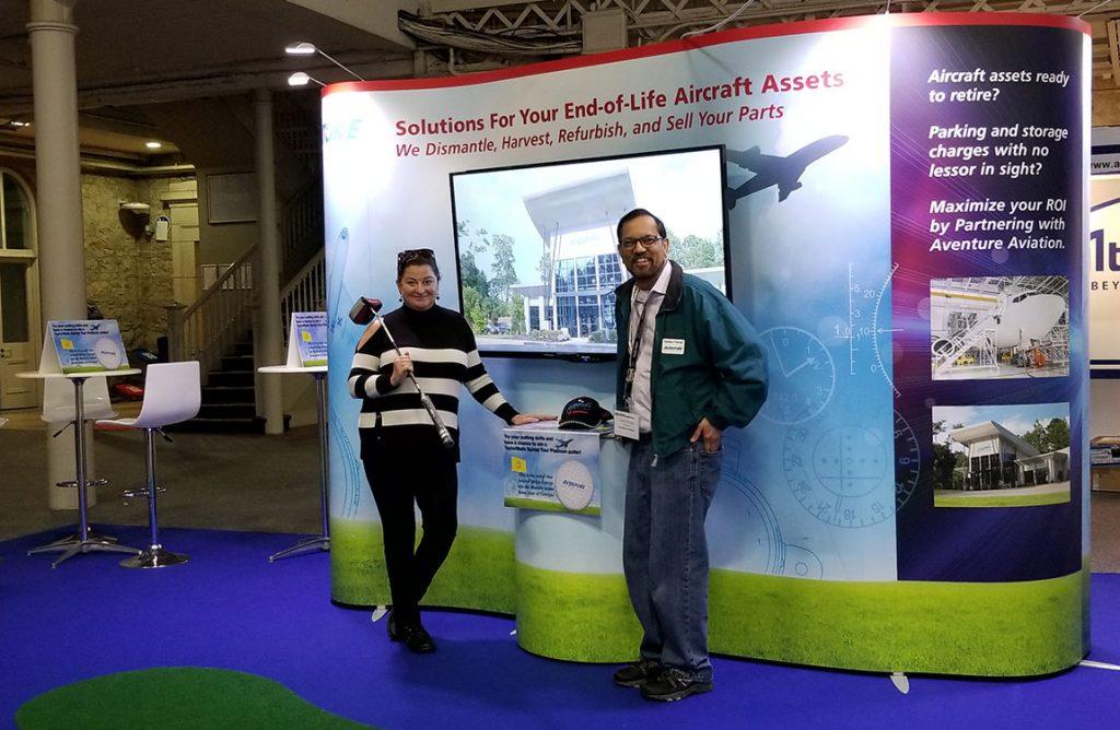 Senior Director of Business Development Melissa Coleman-Grina and President Zaheer Faruqi at Aventure Aviation's booth a the Dublin Aviation Summit 2017