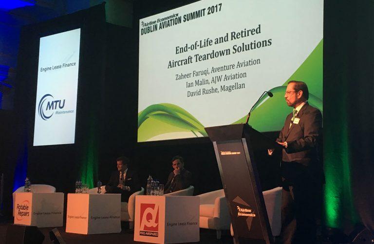 Aventure Aviation President Zaheer Faruqi moderates a panel at the Dublin Aviation Summit 2017