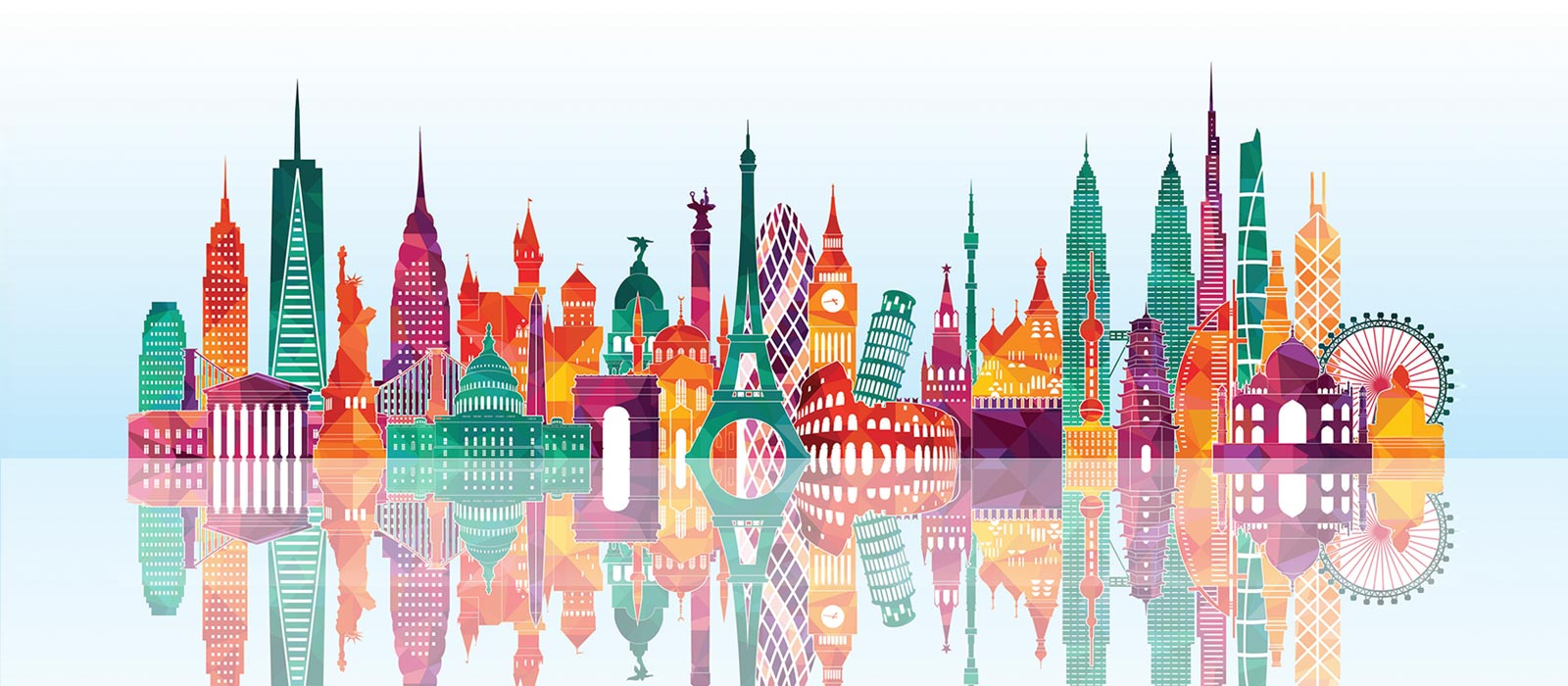 Illustration of world landmarks as one colorful big city