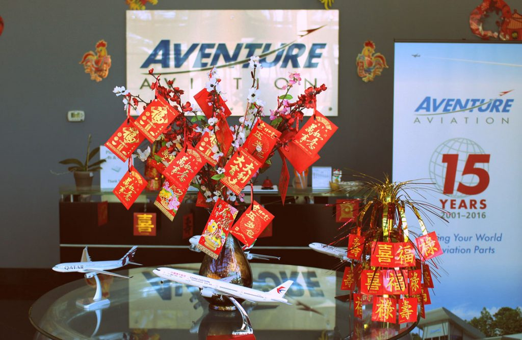 Year of the Rooster 2017 decorations at Aventure Aviation's Atlanta headquarters