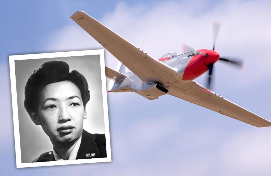 Photo of Hazel Ying Lee, the first Chinese American woman to fly for the U.S. military, over a blue sky with a P-51 Mustang airplane