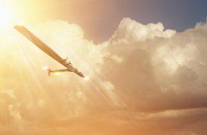 Experimental solar airplane in flight