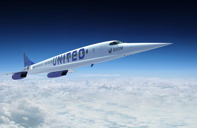 Artist rendering of a United Airlines Boom Supersonic airplane in flight
