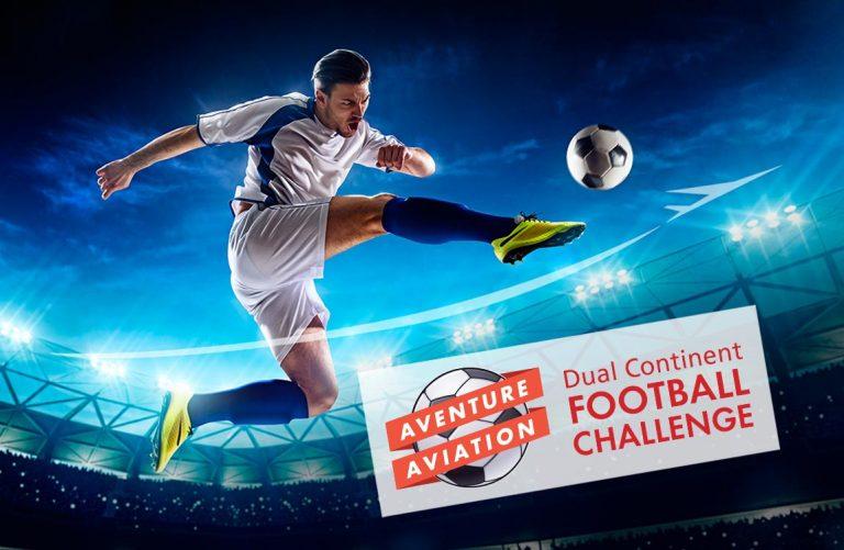 Jumping Football player kicking ball in stadium – Aventure Aviation Dual Continent Football Challenge