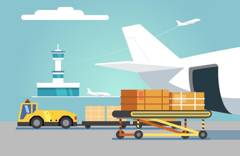 Illustration of a cargo airplane being loaded