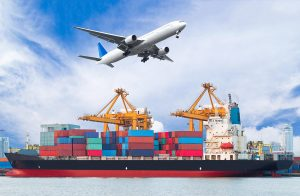 Commercial airplane flying above cargo ship