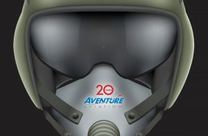 Fighter pilot helmet and mask with Aventure Aviation 20 years logo
