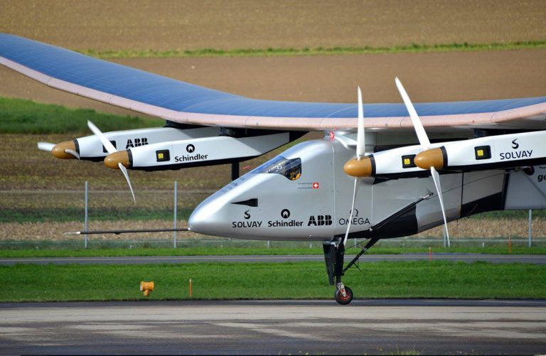 Experimental solar airplane on a runway