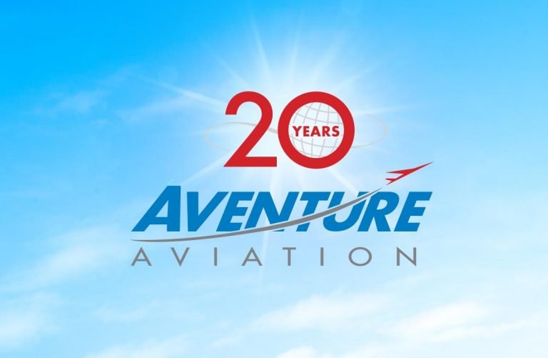 20 Years Aventure Aviation logo in front of a blue sky