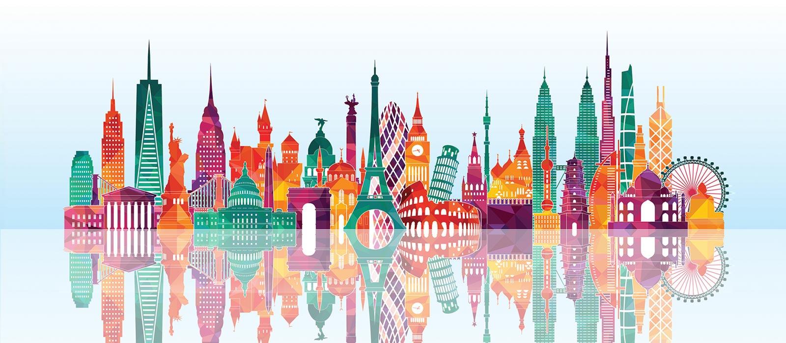 Illustration of world landmarks as one colorful big city