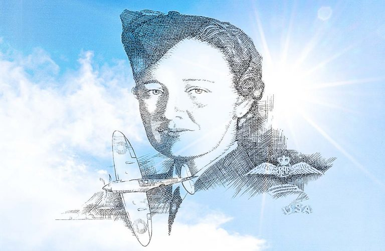 Sketch drawing of women's aaviation pioneer Hazel Jane Raines on a sky background