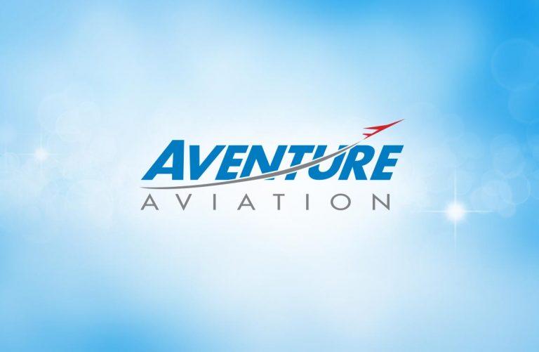 Aventure Aviation logo over a blue sky